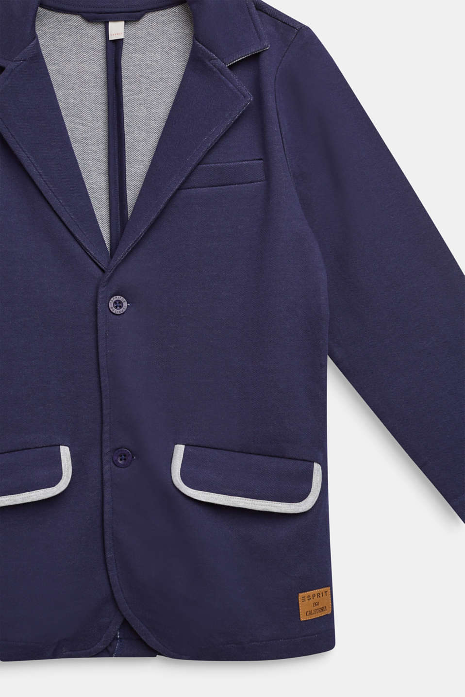 Sweatshirt blazer with piped pockets, LCULTRAMARINE, detail image number 2