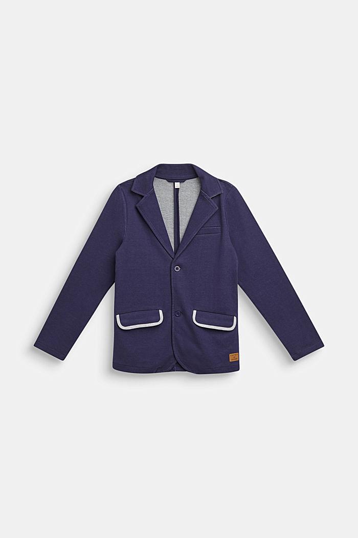 Sweatshirt blazer with piped pockets