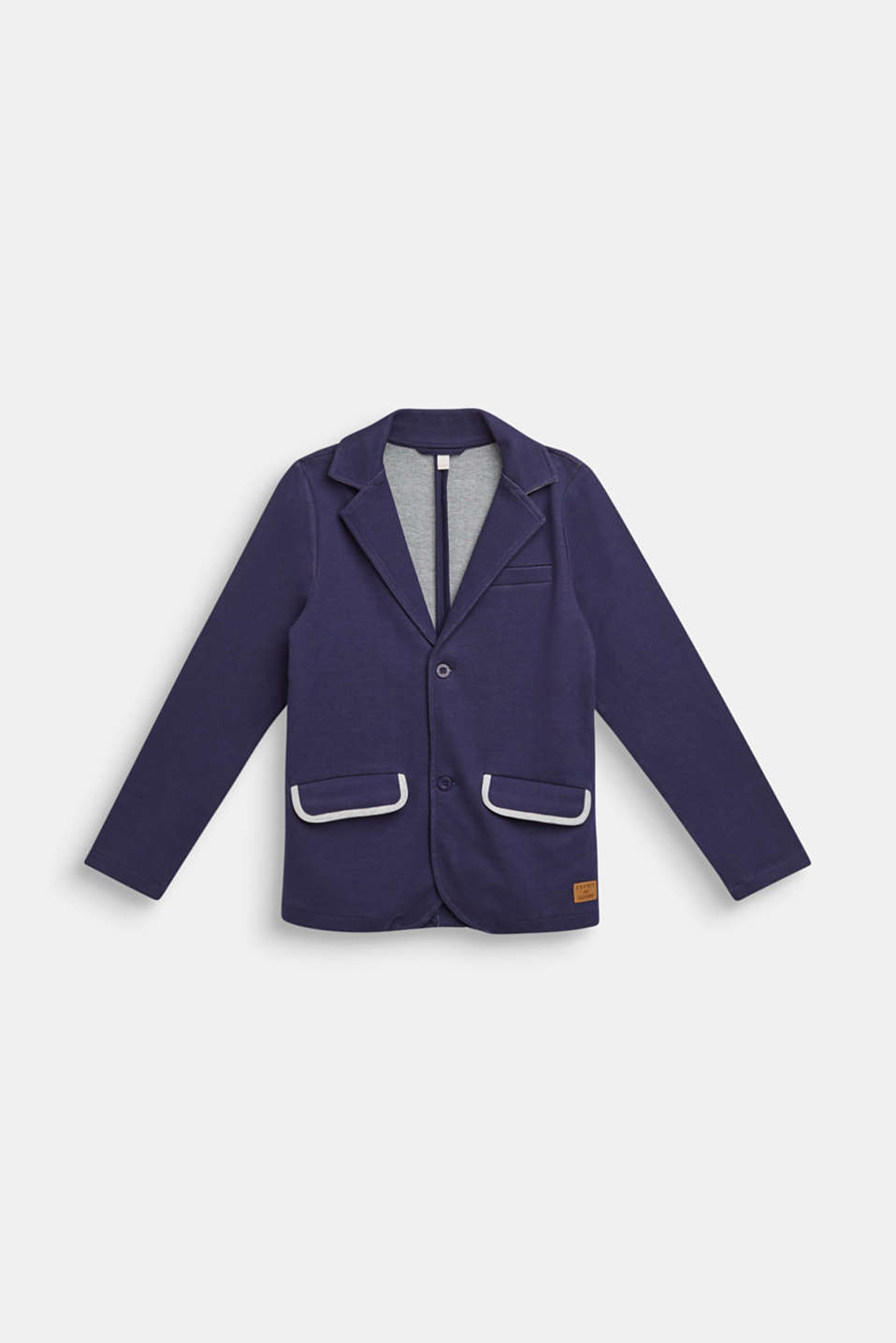 Sweatshirt blazer with piped pockets, LCULTRAMARINE, detail image number 0