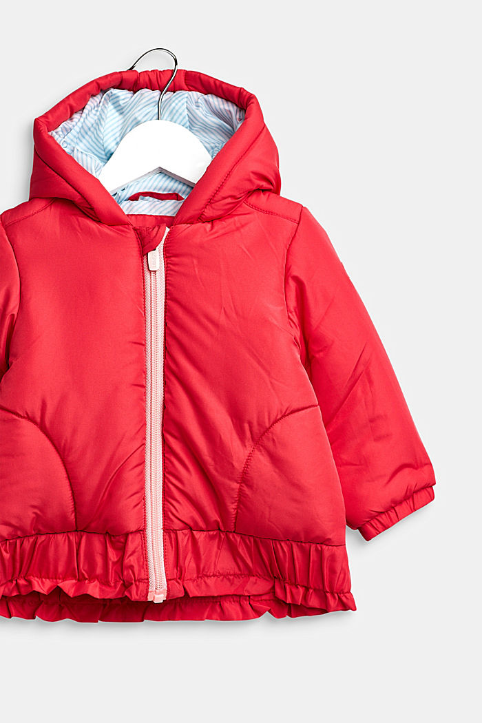 Hooded anorak with a frill, STRAWBERRY, detail image number 2