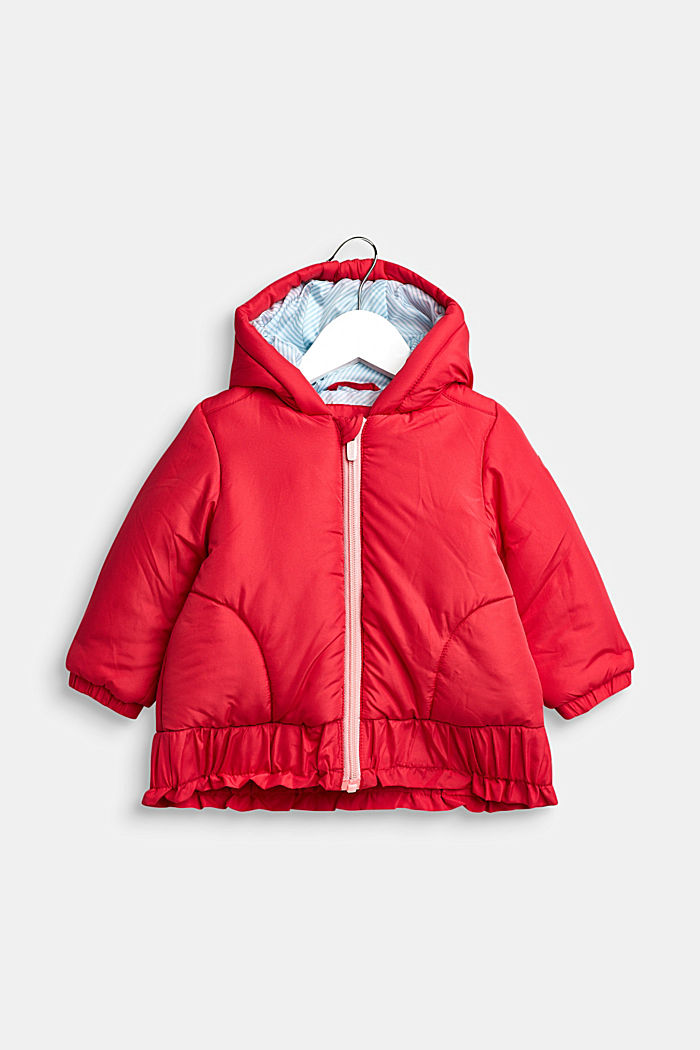 Anorak met capuchon en ruche, STRAWBERRY, detail image number 0
