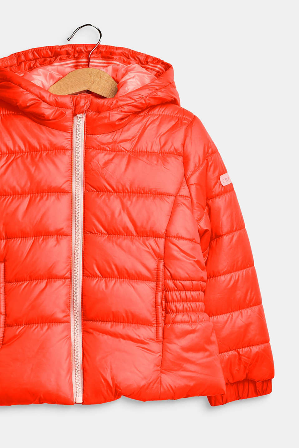 Hooded quilted jacket, NEON CORAL, detail image number 2