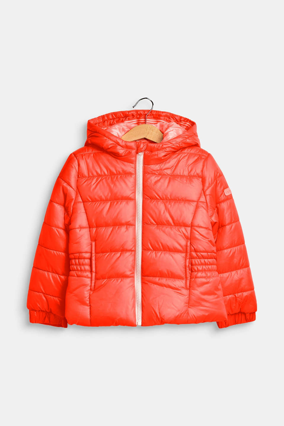 Hooded quilted jacket, NEON CORAL, detail image number 0