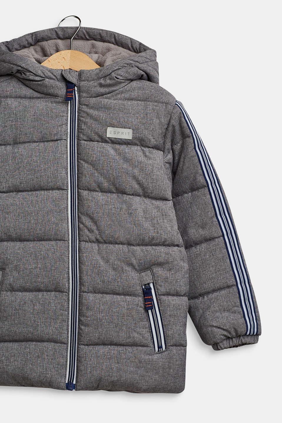 Melange quilted jacket with stripes, MID HEATHER GR, detail image number 2