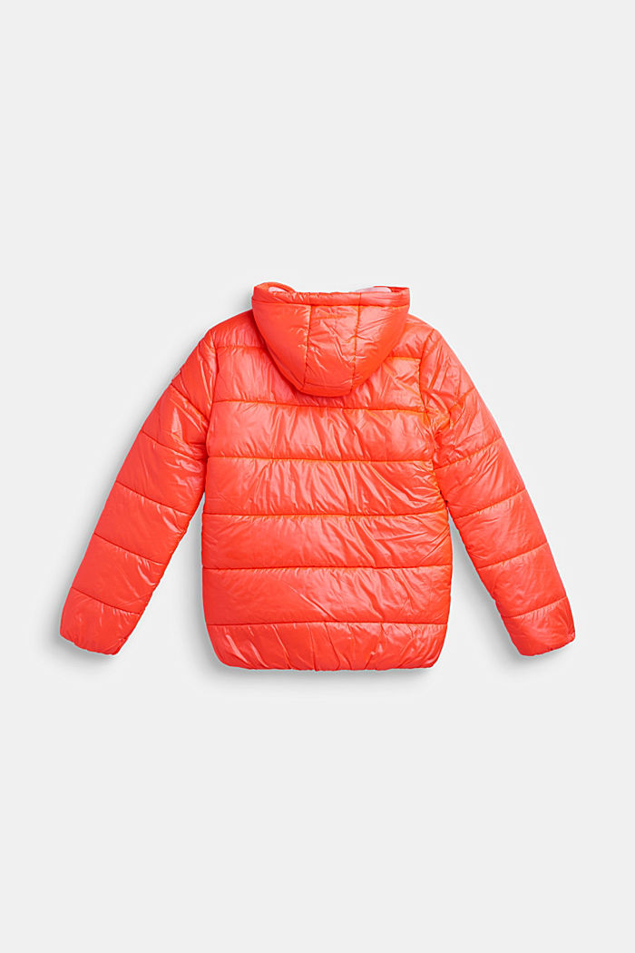 Padded quilted jacket with a hood, NEON CORAL, detail image number 1