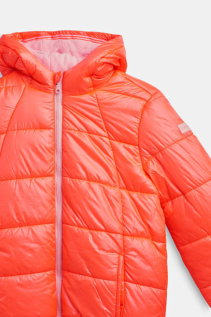 Padded quilted jacket with a hood, NEON CORAL, detail image number 2