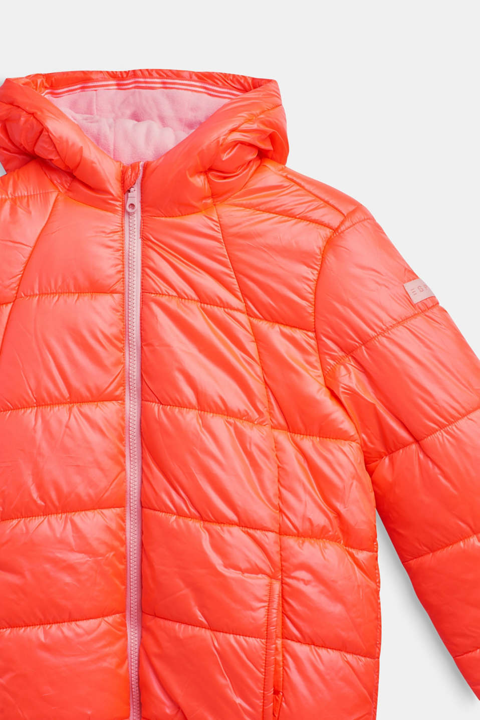 Padded quilted jacket with a hood, LCNEON CORAL, detail image number 2