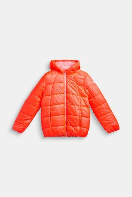 Padded quilted jacket with a hood, LCNEON CORAL, detail
