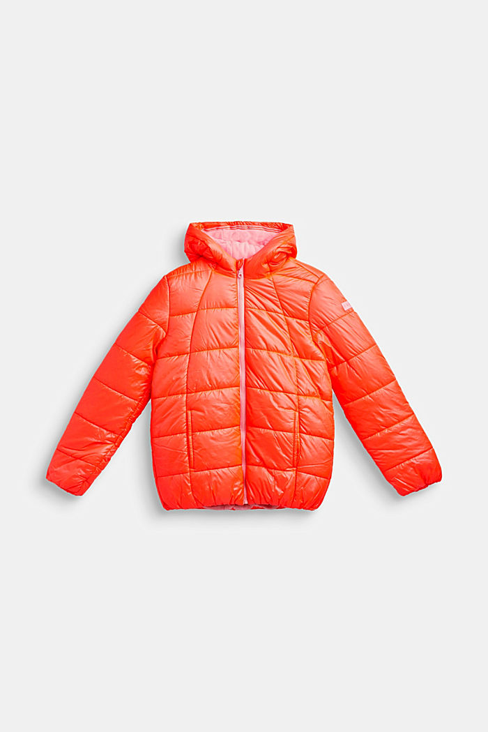 Padded quilted jacket with a hood, NEON CORAL, detail image number 0