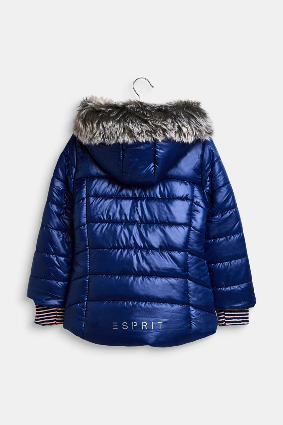 Quilted jacket with a faux fur hood, MARINE BLUE, detail image number 1