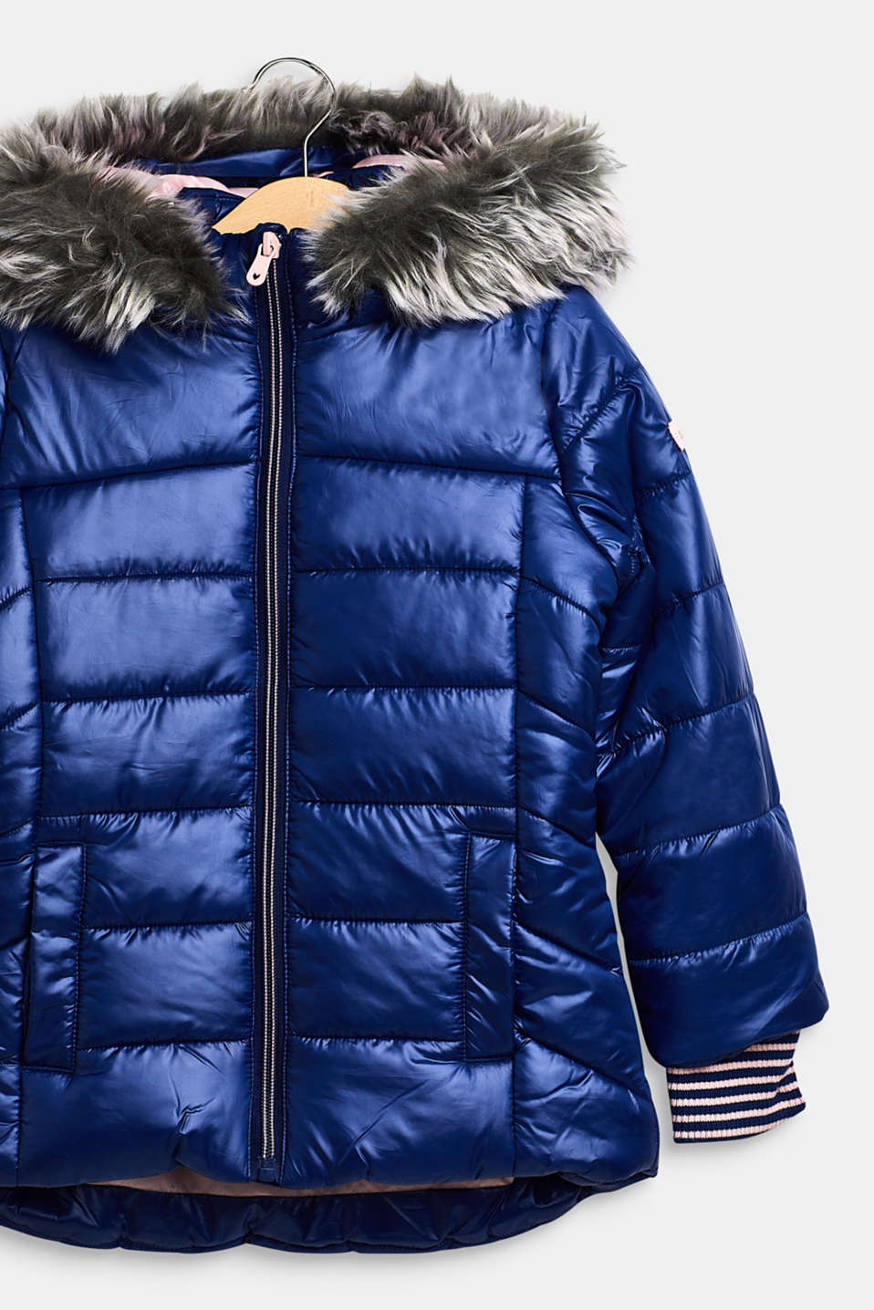 Quilted jacket with a faux fur hood, MARINE BLUE, detail image number 3