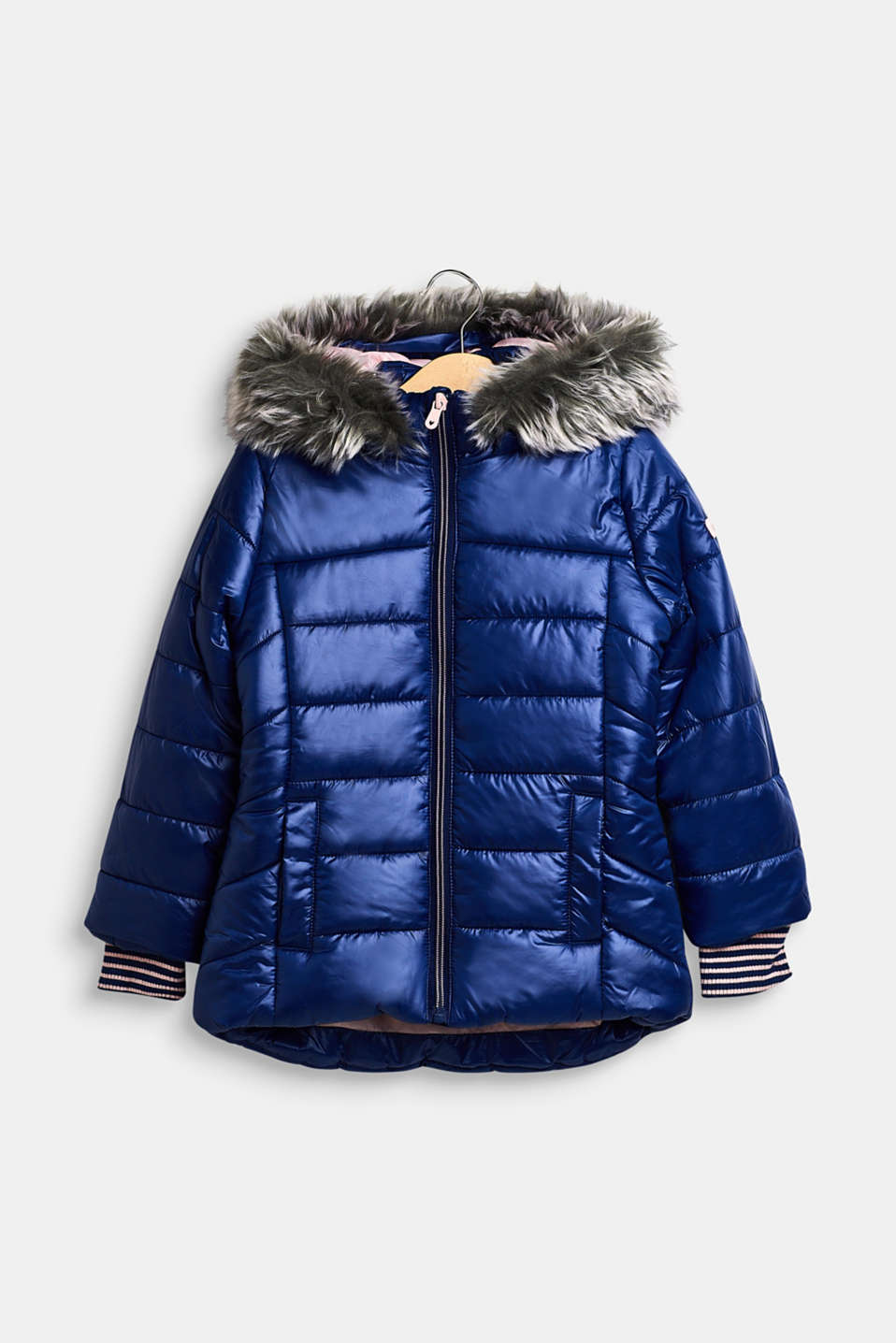 Esprit - Quilted jacket with a faux fur hood