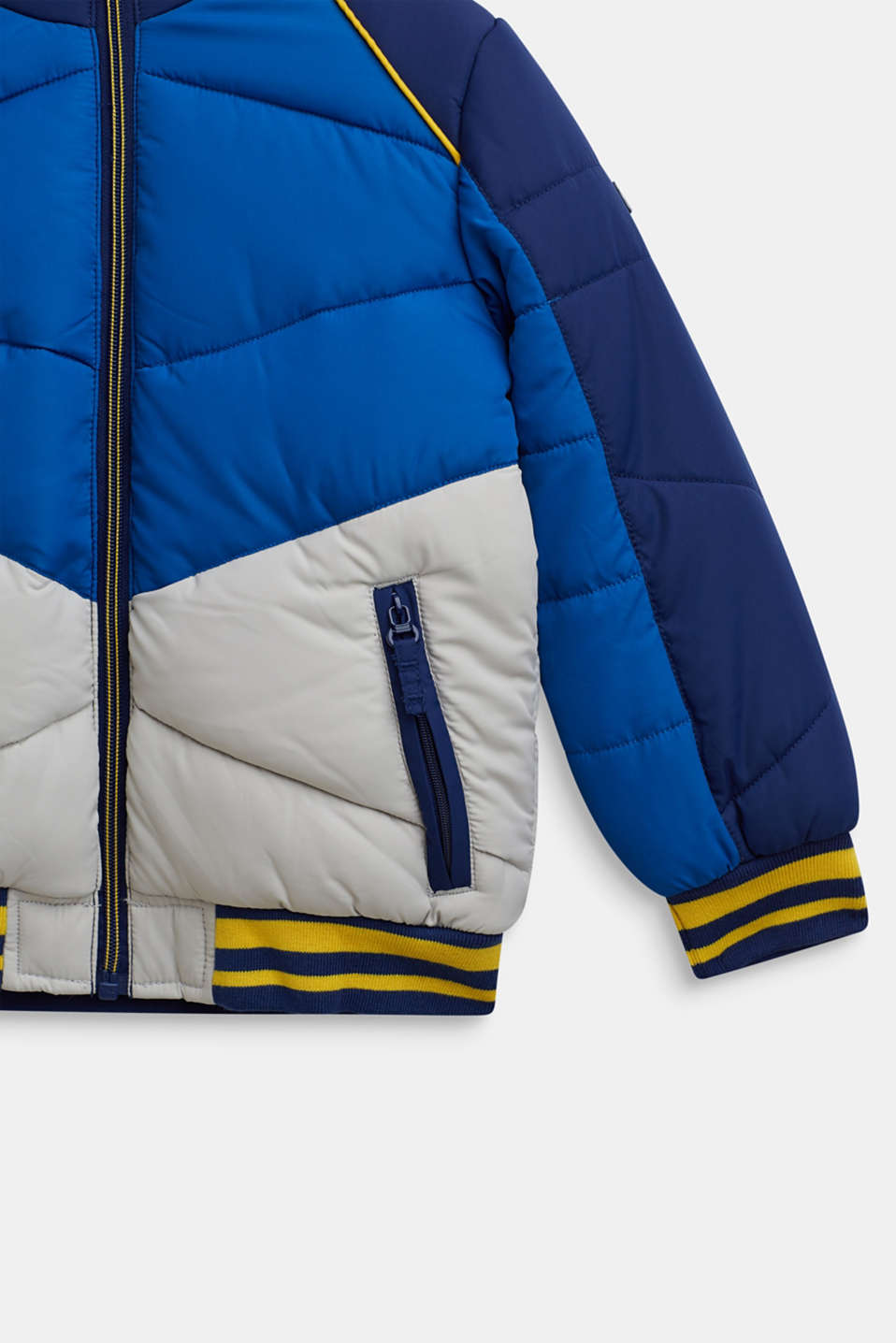 Colour block quilted jacket, MARINE BLUE, detail image number 3
