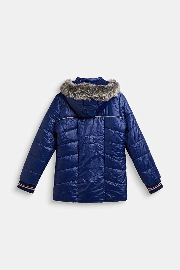 Gewatteerde mantel met capuchon met imitatiebont, MARINE BLUE, detail image number 1