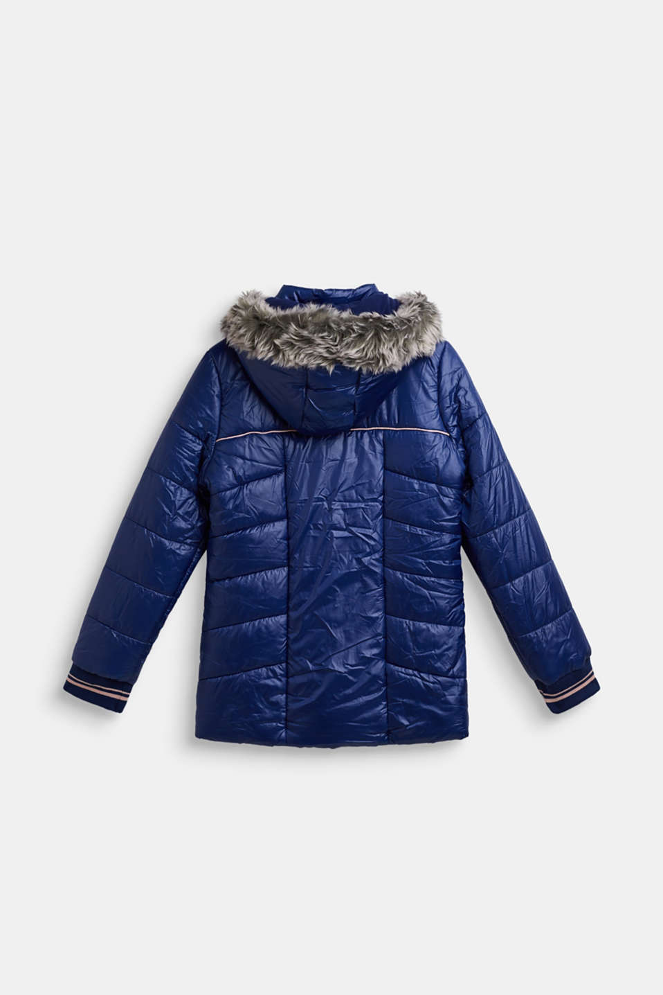 Quilted coat with a faux fur hood, LCMARINE BLUE, detail image number 1