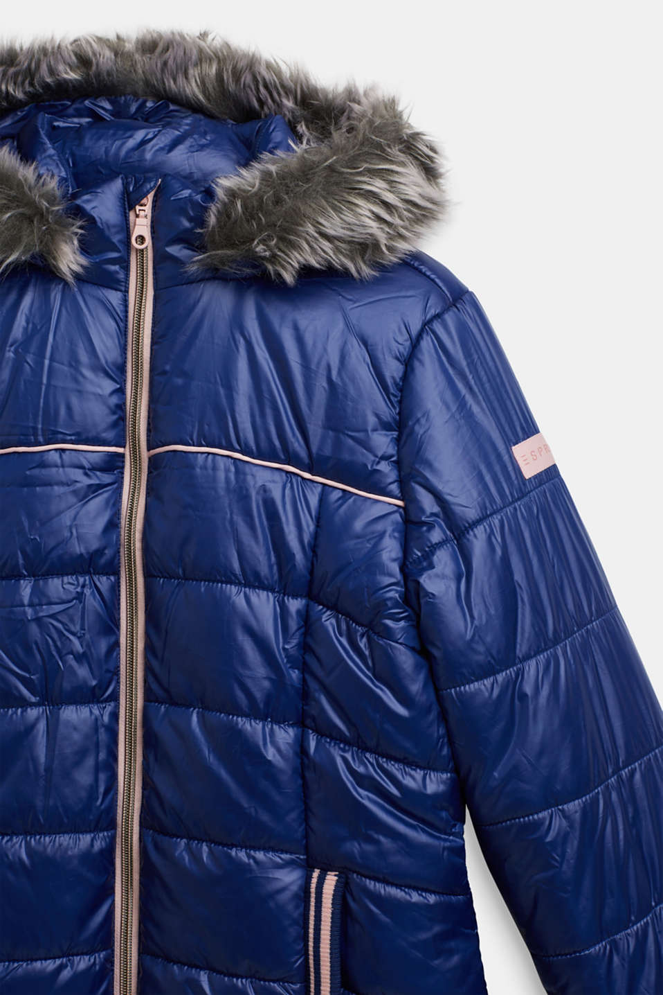 Quilted coat with a faux fur hood, LCMARINE BLUE, detail image number 2