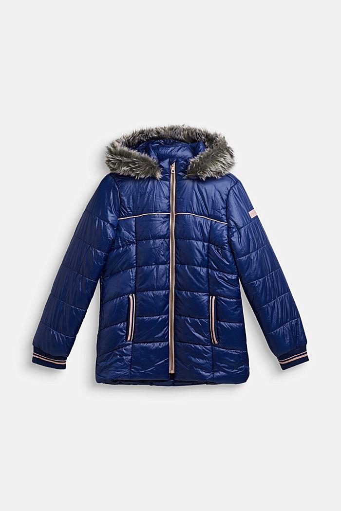 Gewatteerde mantel met capuchon met imitatiebont, MARINE BLUE, detail image number 0