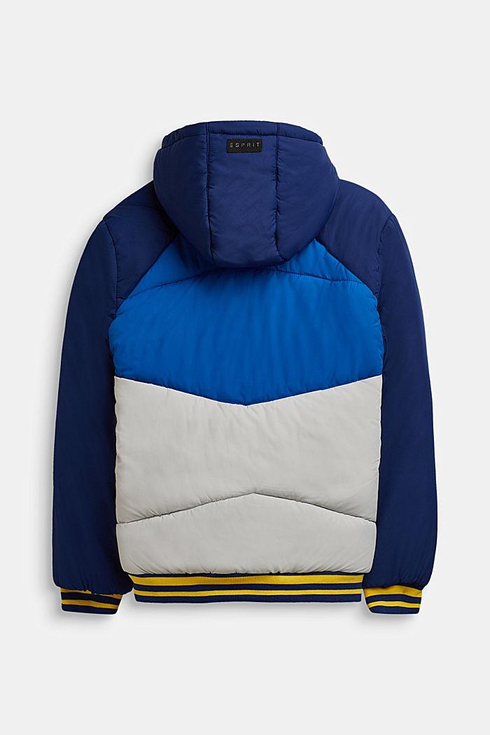 Gewatteerde jas met een colour block design, MARINE BLUE, detail image number 1
