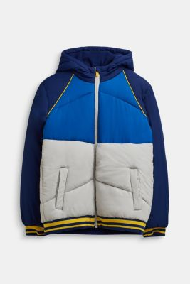 Quilted jacket with colour blocking, LCMARINE BLUE, detail