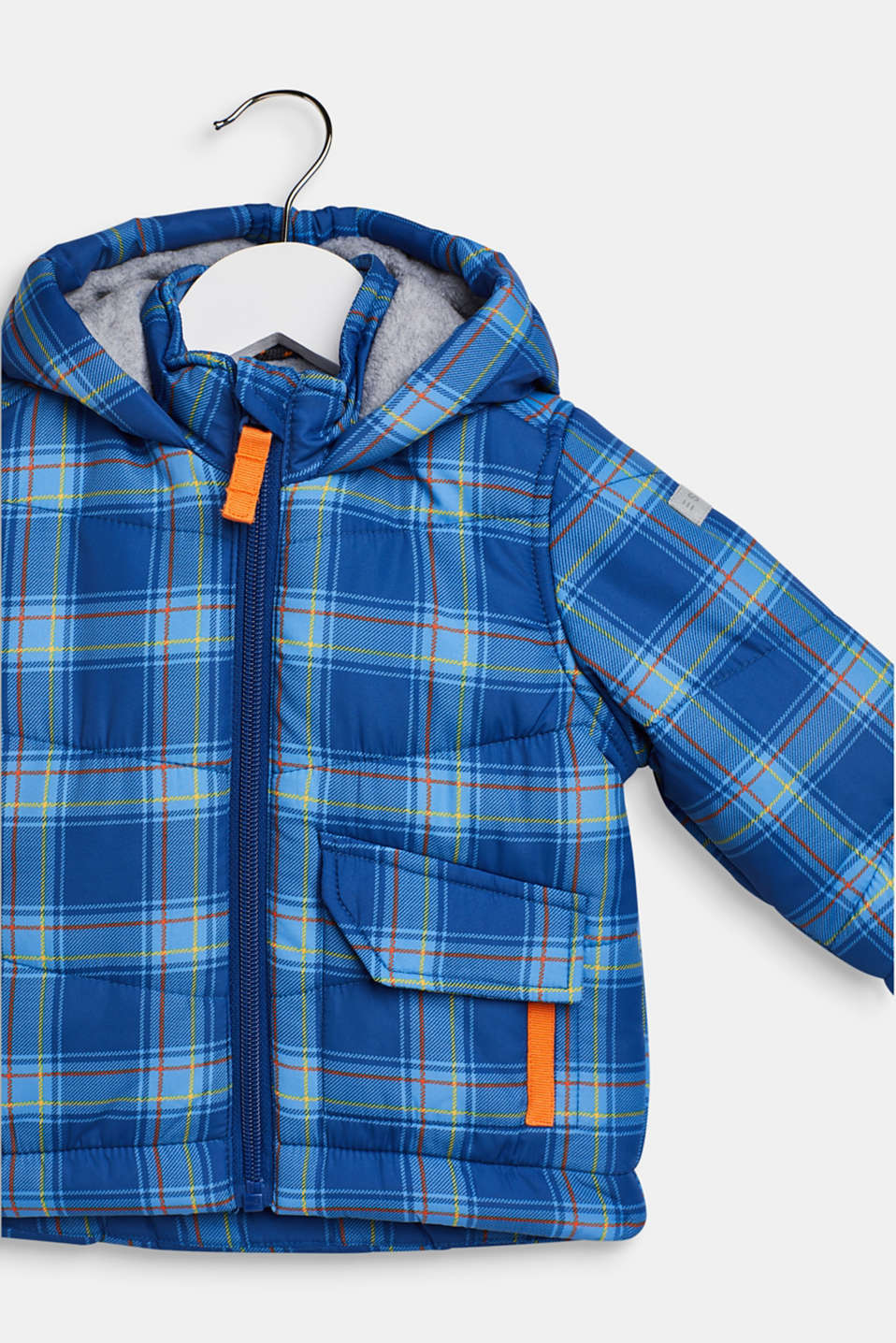 Padded check jacket with fleece lining, LCINDIGO, detail image number 2