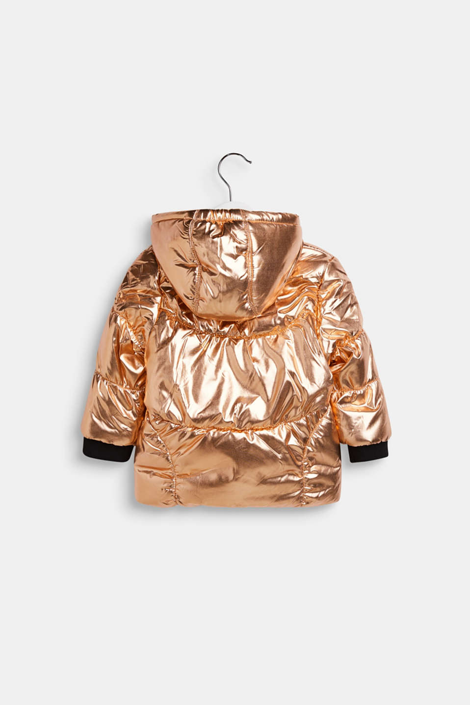 Warm quilted jacket with a metallic finish, LCCOPPER ROSE, detail image number 1