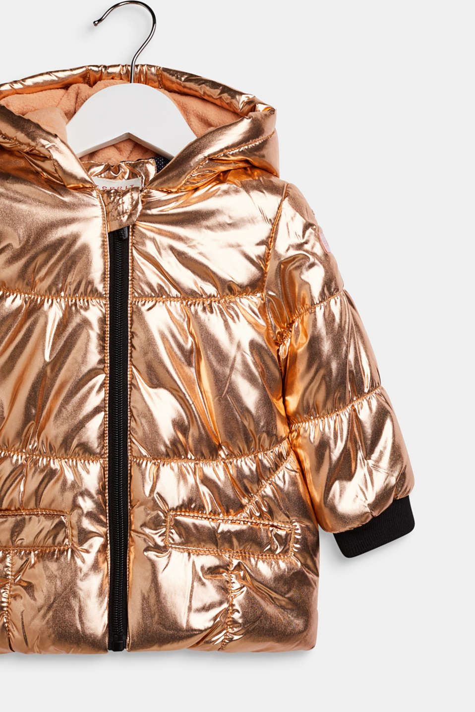 Warm quilted jacket with a metallic finish, LCCOPPER ROSE, detail image number 2