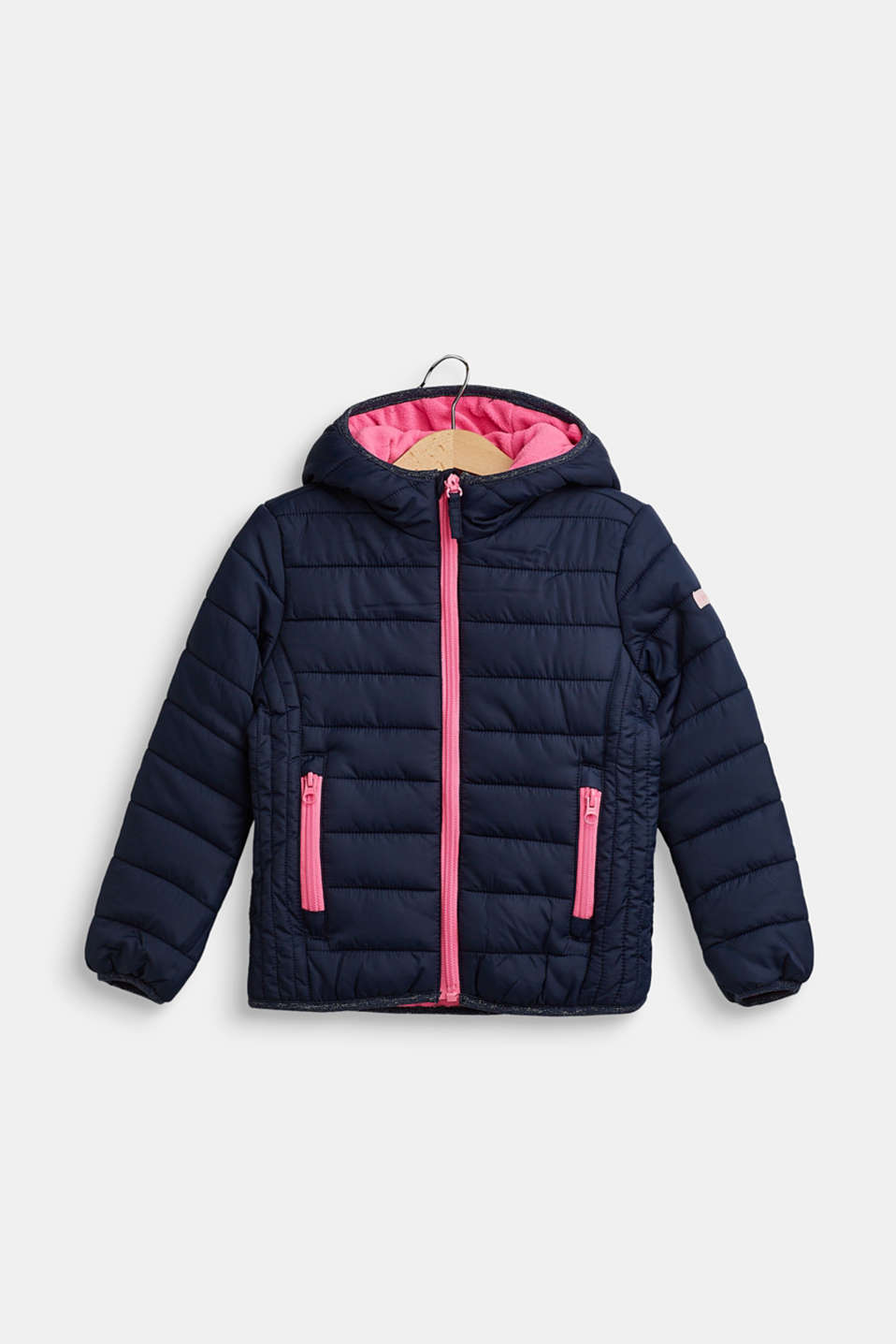 Hooded quilted jacket, NAVY, detail image number 0