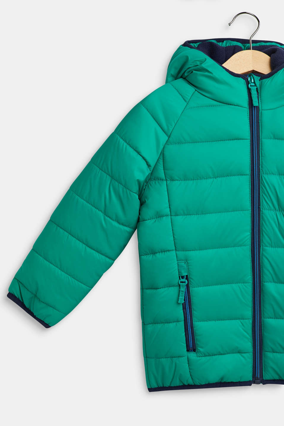 Padded quilted jacket with fleece lining, MID GREEN, detail image number 2