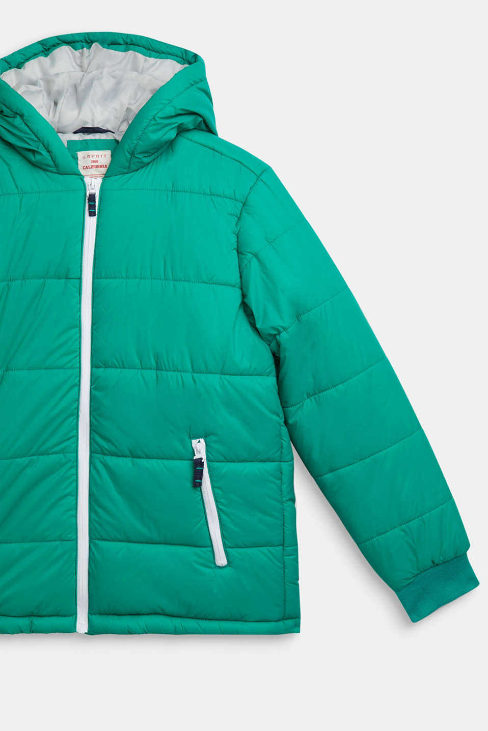 Padded jacket with a hood, LCMID GREEN, detail image number 2