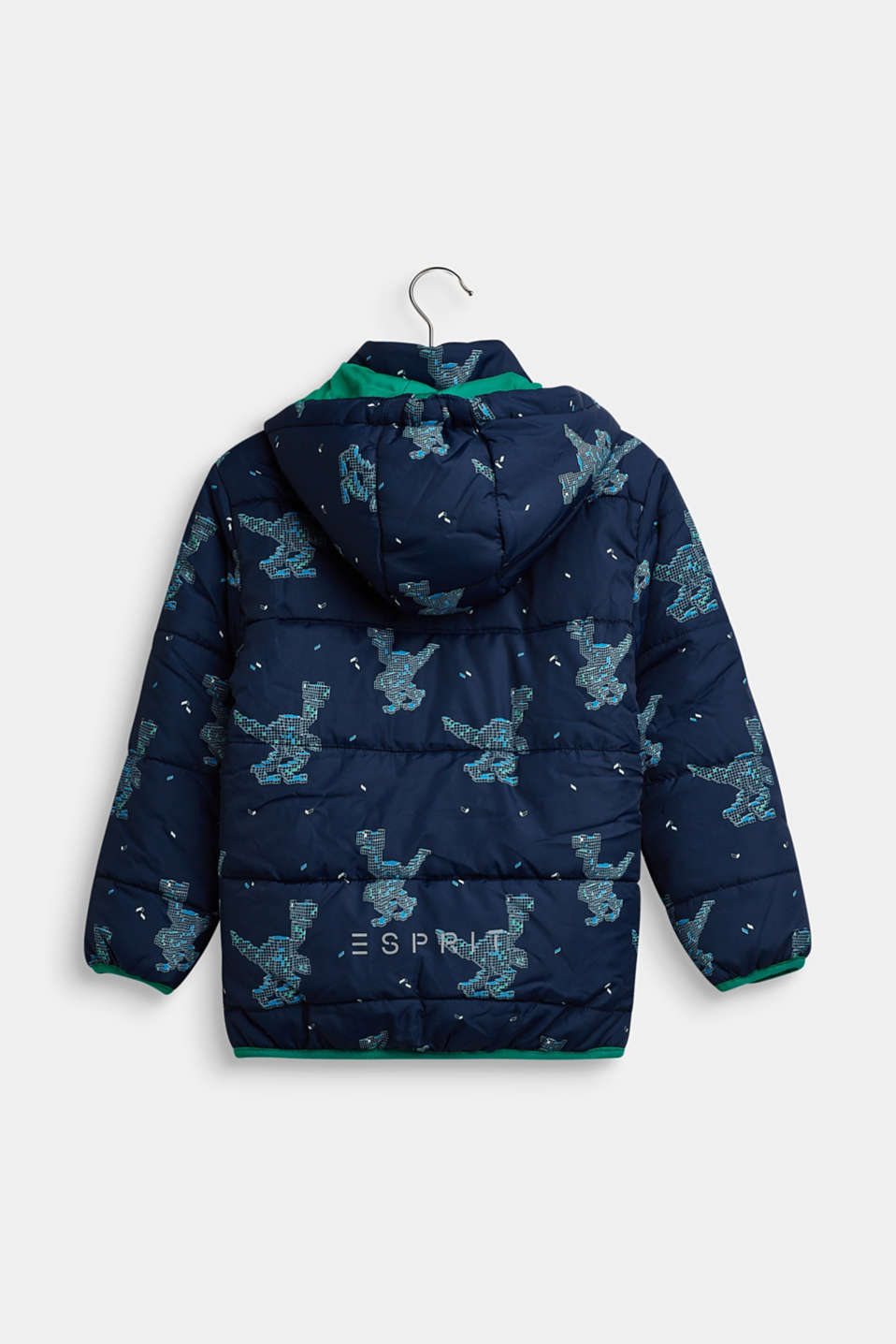 Quilted jacket with a dinosaur print, NAVY, detail image number 1