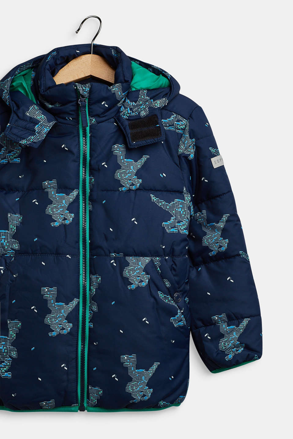 Quilted jacket with a dinosaur print, NAVY, detail image number 2