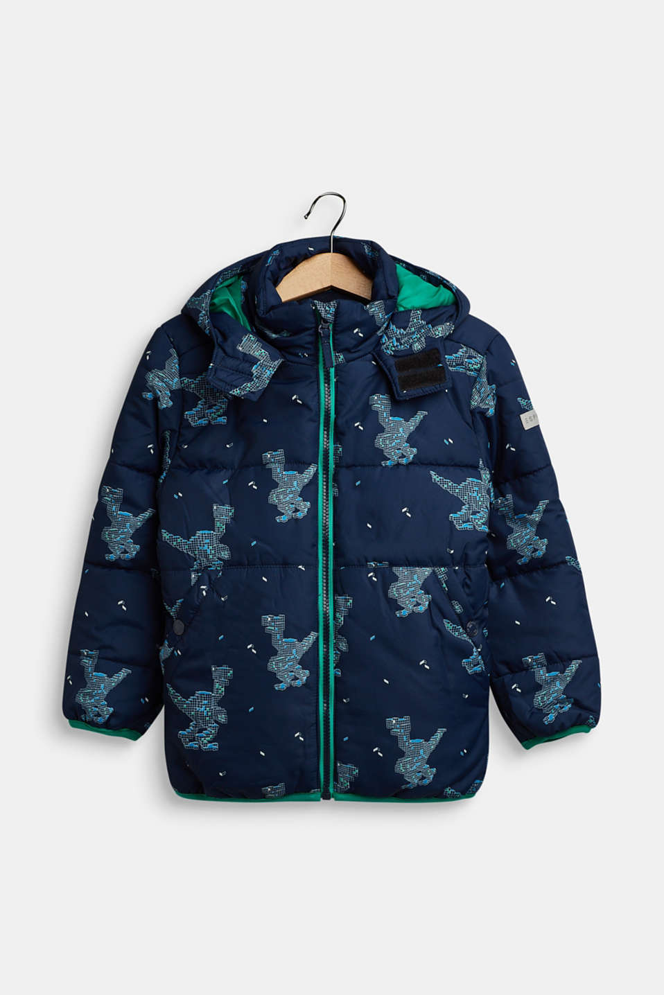 Quilted jacket with a dinosaur print, NAVY, detail image number 0