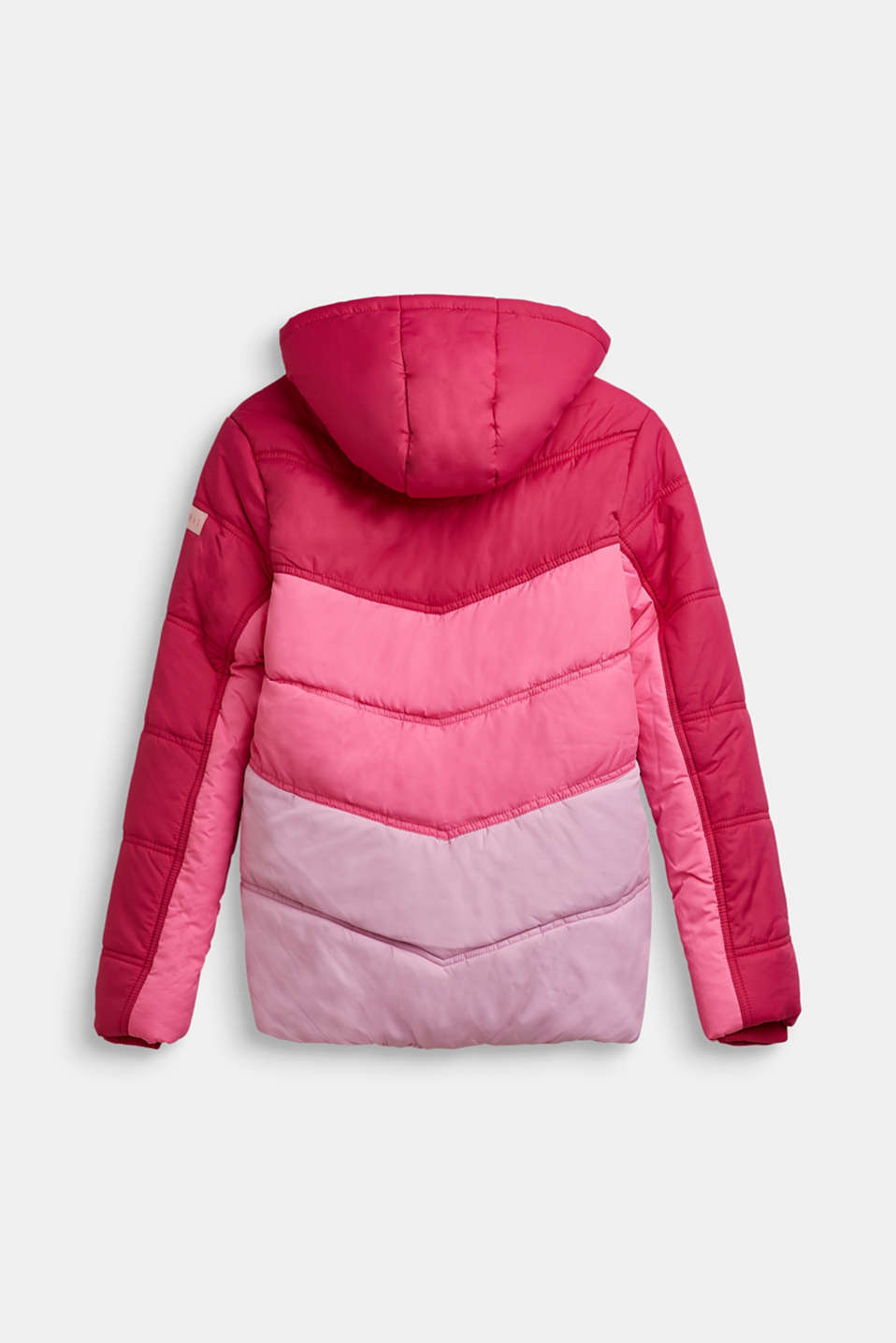 Quilted jacket in a colour block, LCFUCHSIA, detail image number 1