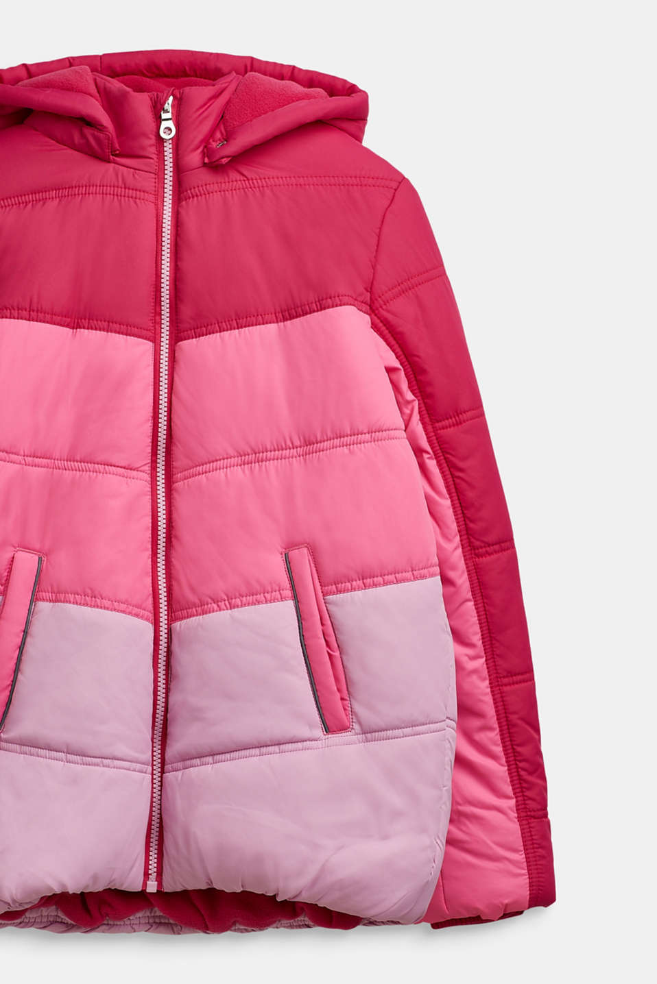 Quilted jacket in a colour block, LCFUCHSIA, detail image number 2