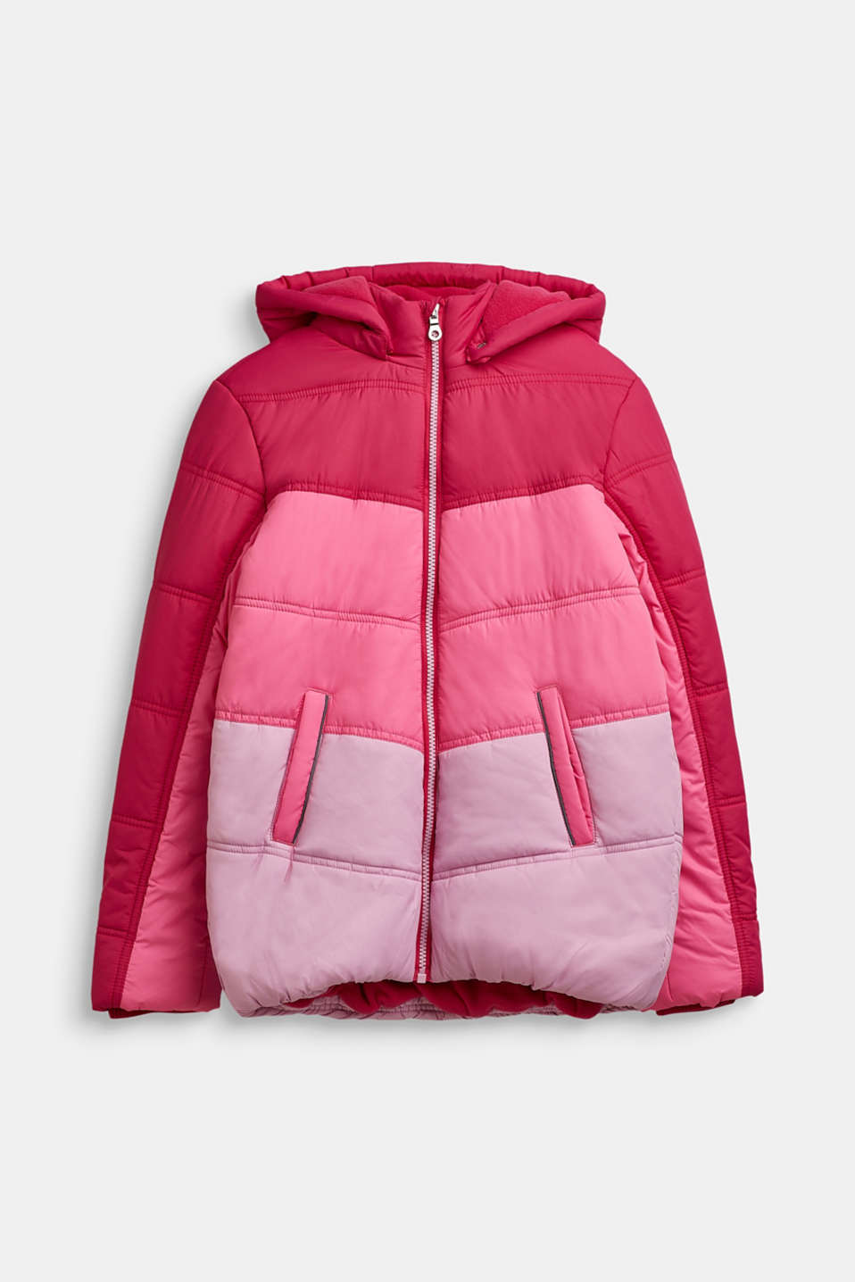 Quilted jacket in a colour block, LCFUCHSIA, detail image number 0