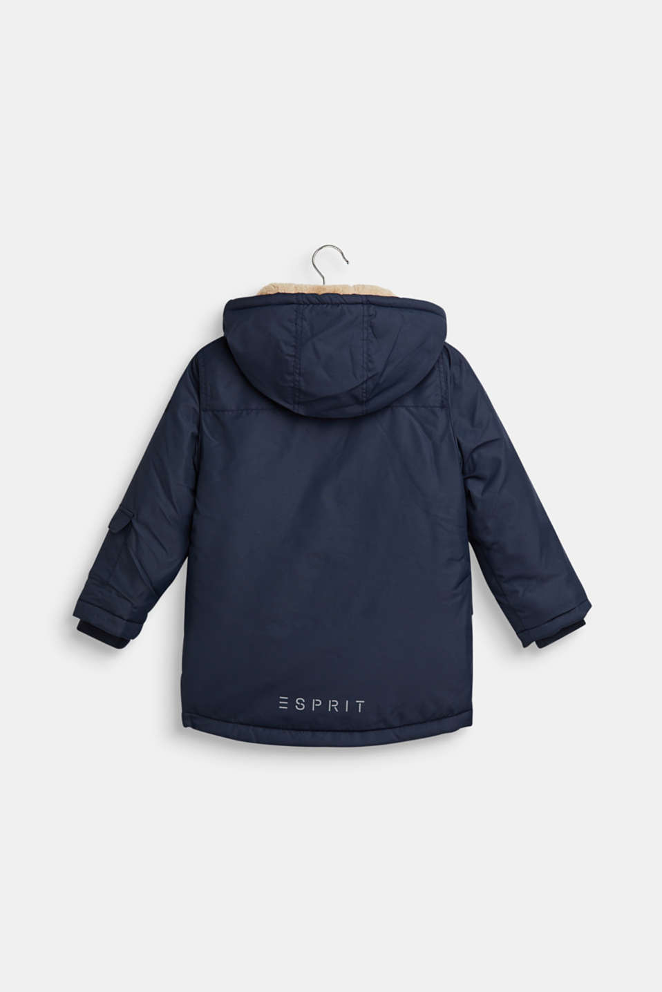 Padded parka with hood and teddy fur lining, NAVY, detail image number 1
