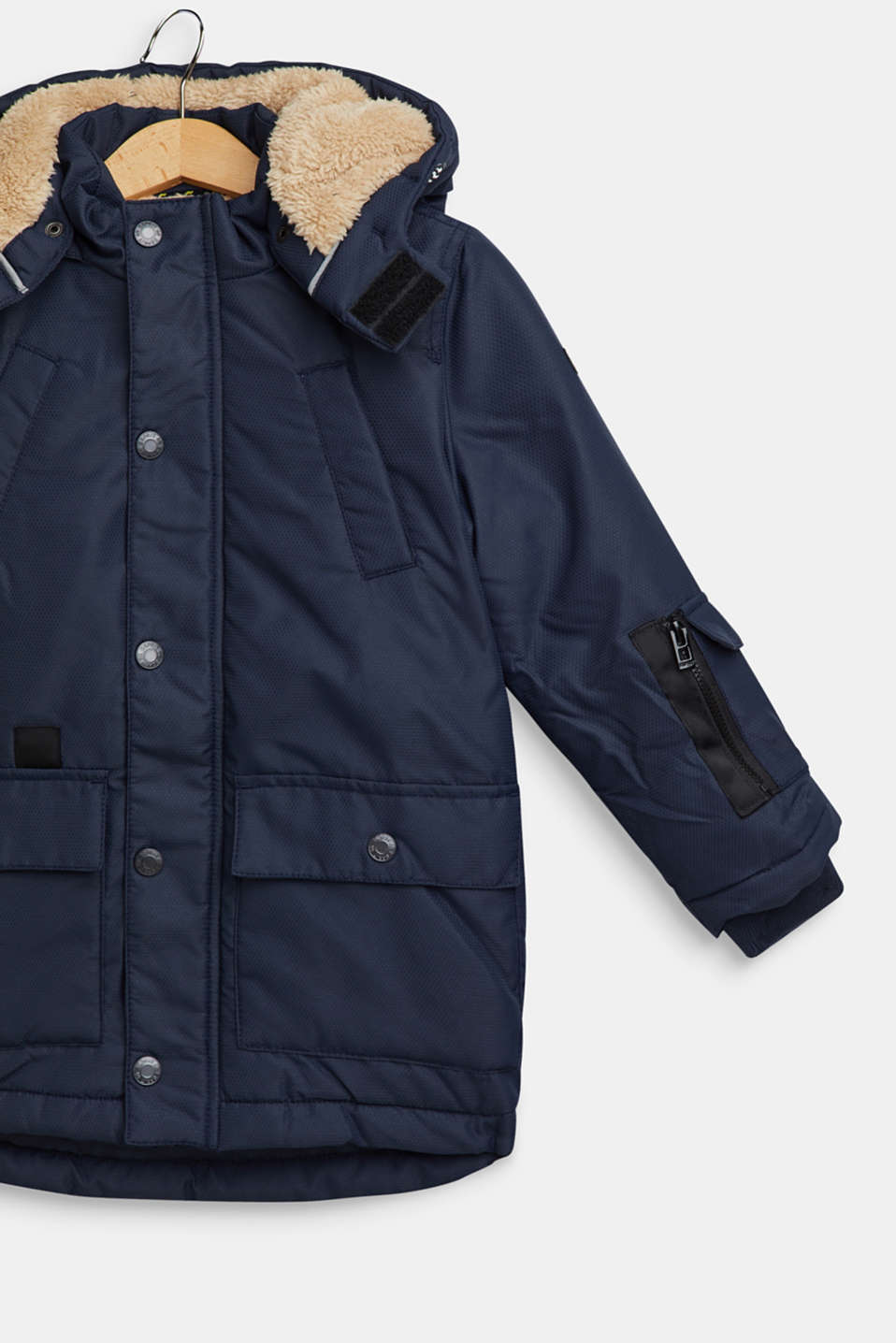 Padded parka with hood and teddy fur lining, NAVY, detail image number 2