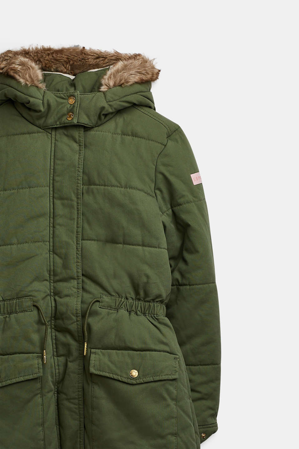 Quilted parka with a faux fur hood, LCOLIVE, detail image number 2
