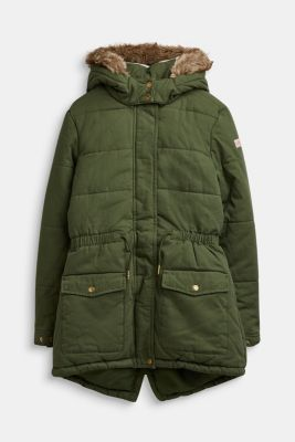 Quilted parka with a faux fur hood, LCOLIVE, detail