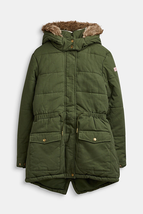 Quilted parka with a faux fur hood