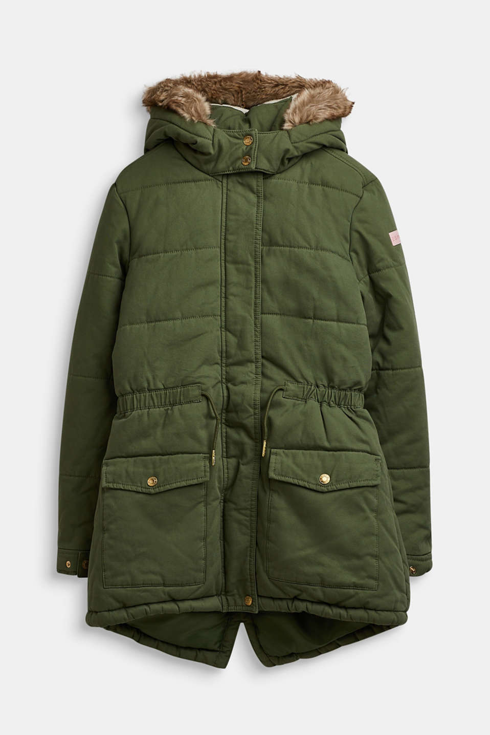 Quilted parka with a faux fur hood, LCOLIVE, detail image number 0