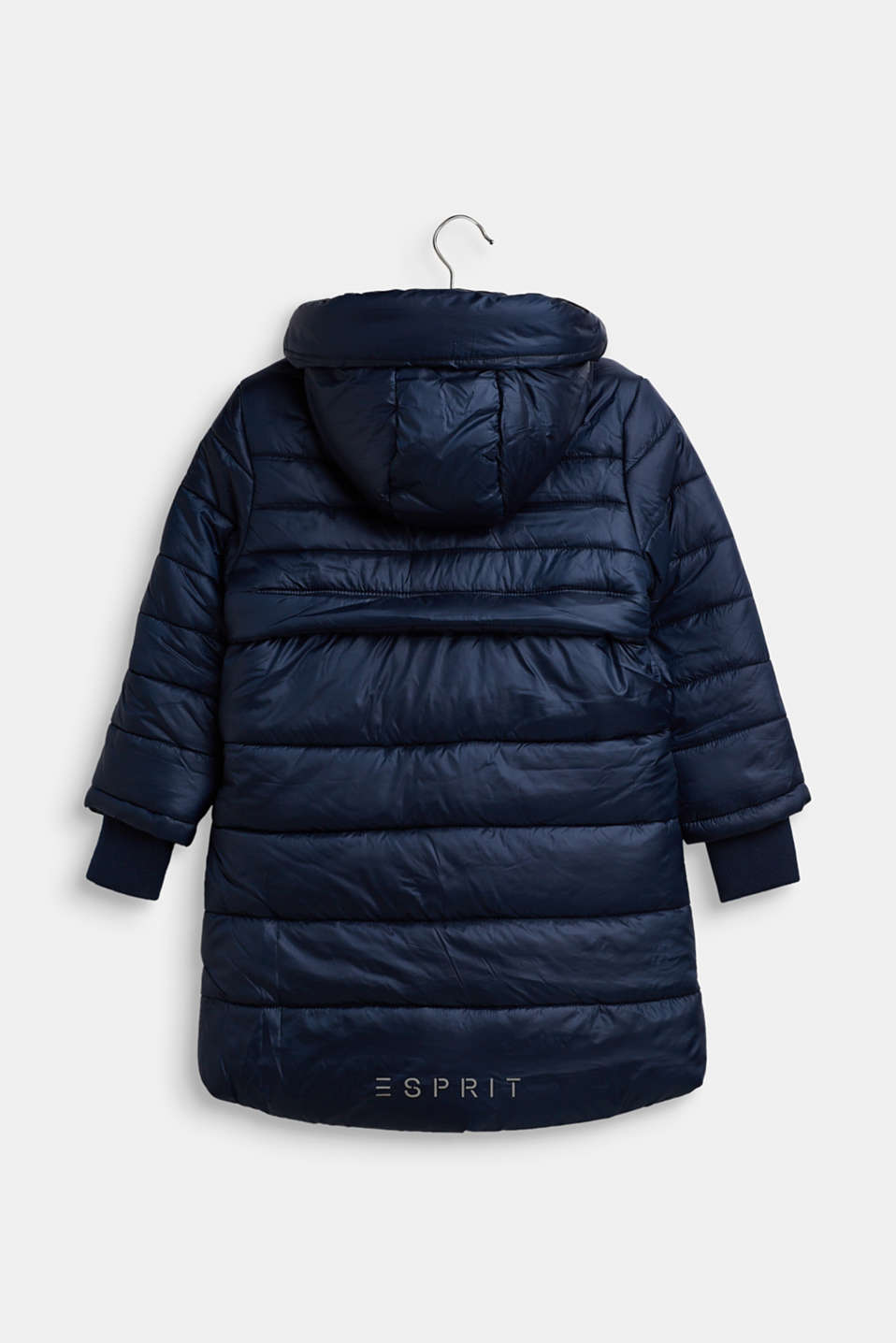 Quilted coat with hood, NAVY, detail image number 1