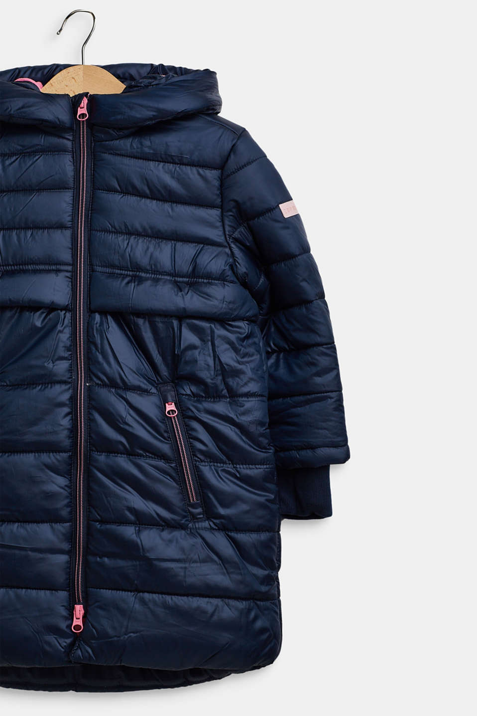 Quilted coat with hood, NAVY, detail image number 2