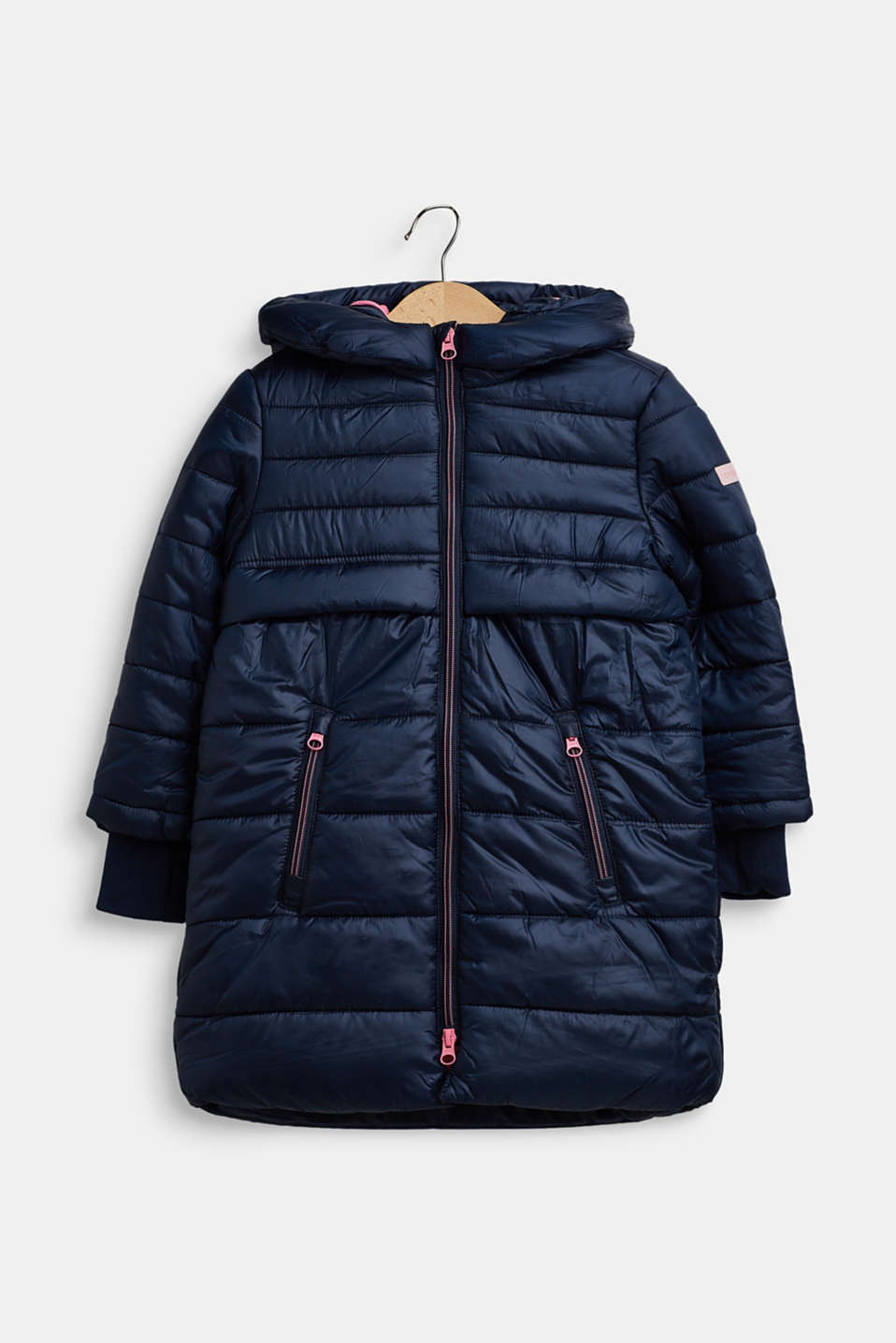 Quilted coat with hood, NAVY, detail image number 0