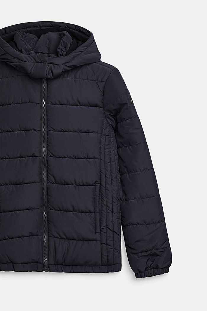 Gewatteerde jas met capuchon en fleece voering, BLACK, detail image number 2