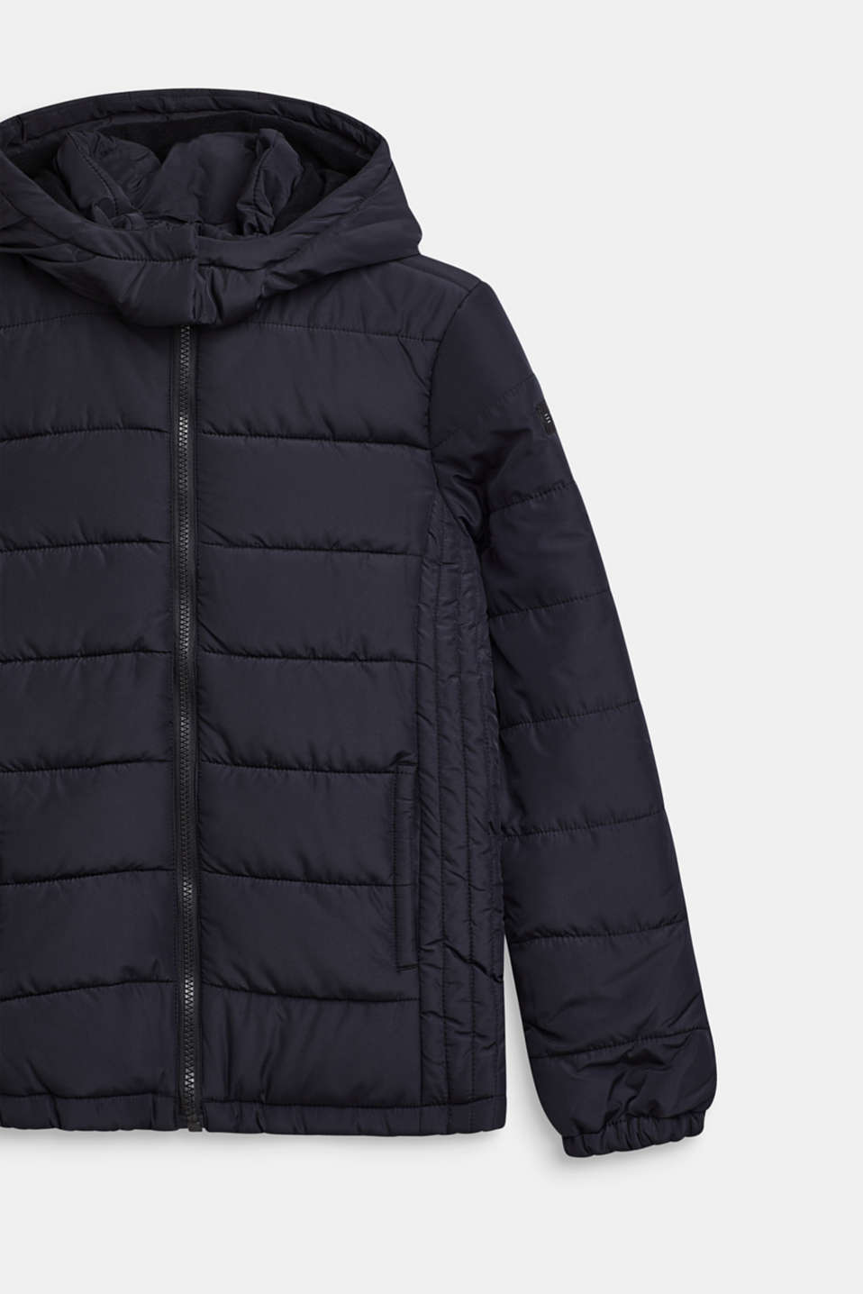 Quilted jacket with a hood and fleece lining, LCBLACK, detail image number 2
