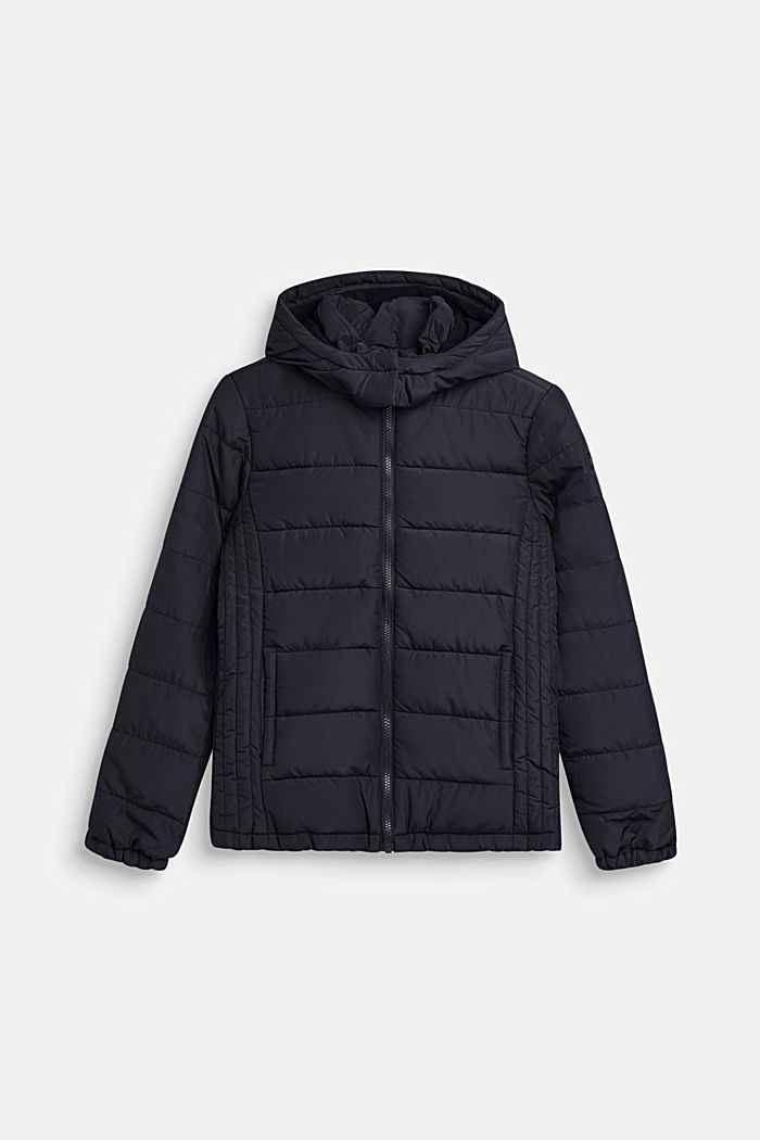 Gewatteerde jas met capuchon en fleece voering, BLACK, detail image number 0