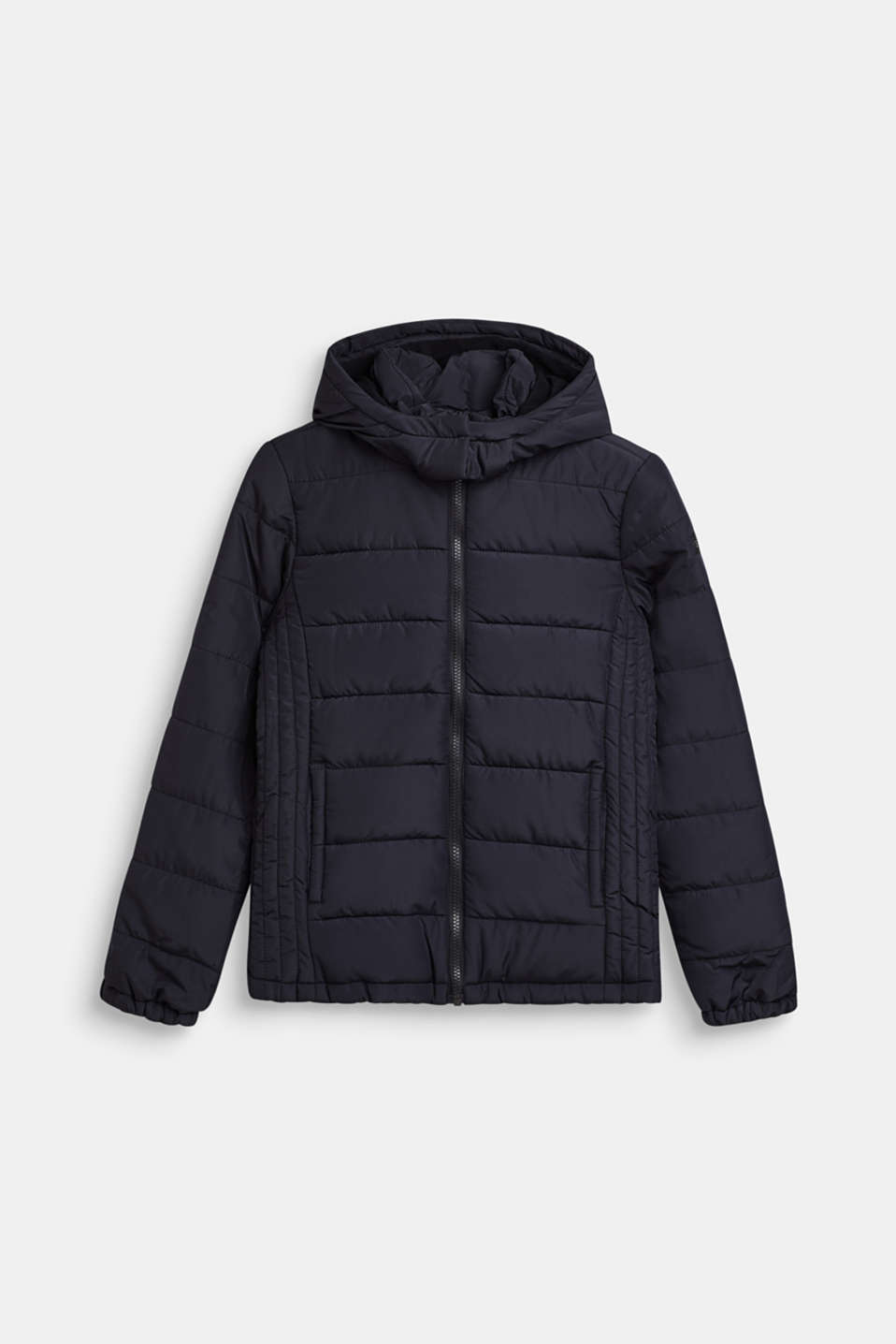 Quilted jacket with a hood and fleece lining, LCBLACK, detail image number 0
