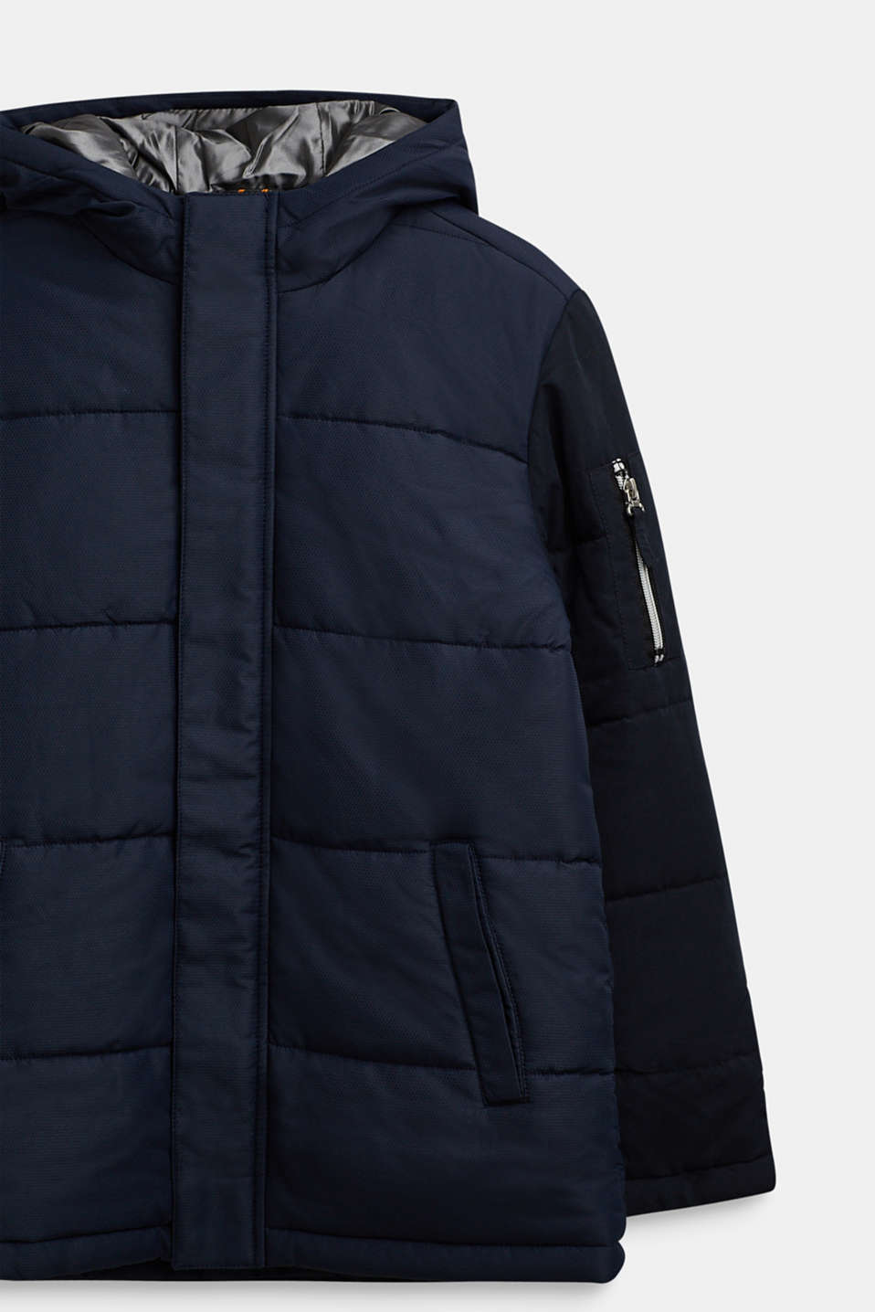 Quilted jacket in a material mix, LCNAVY, detail image number 2