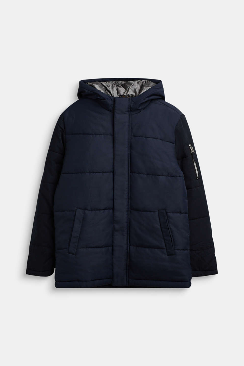 Quilted jacket in a material mix, LCNAVY, detail image number 0
